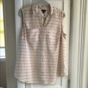 Cream / Salmon Sleeveless Blouse